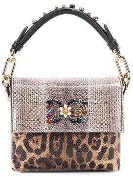 Dolce & Gabbana Embellished snakeskin-trimmed top handle bag