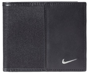 Nike Men's Leather & Tech Twill Money Clip Card Case - Black