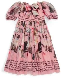 Dolce & Gabbana Toddler's, Little Girl's & Girl's Cat Short Sleeves Silk Dress
