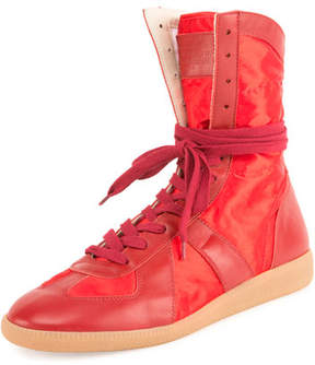 Maison Margiela Men's Leather Boxing Sneakers, Red
