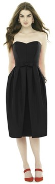 Alfred Sung Women's Strapless Peau De Soie Midi Dress With Bow Belt
