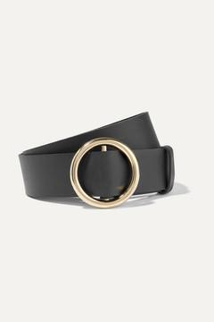 Frame Circle Leather Belt - Black