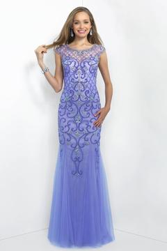 Blush Lingerie Embellished Bateau Neck Tulle Gown 11044