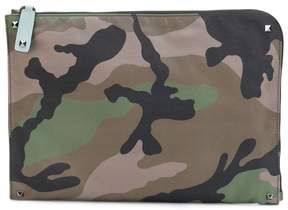 Valentino Rockstud camouflage laptop pouch