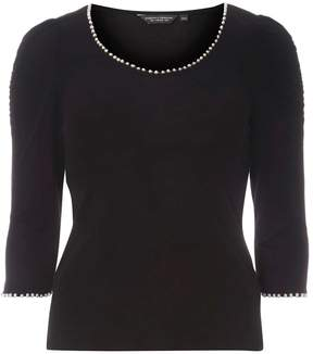 Dorothy Perkins Black Pearl Neck and Cuff T-Shirt