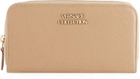 Versace Pebbled Leather Zip-Around Wallet, Taupe
