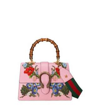 Gucci Dionysus Small Embroidered Floral Satchel Bag, Pink - PINK - STYLE