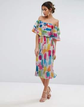 Bardot Every Cloud Smudge Print Midi Dress