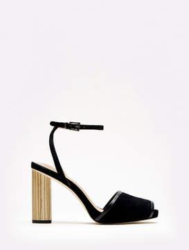 Halston Kathy Suede Ankle Strap Wooden High Heel