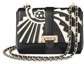 Aspinal of London Small Lottie Bag In Ivory Deco Applique Smooth Black