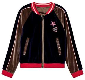 Ikks Navy and Beige Velour Embroidered Bomber Jacket