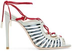 Pollini embellished lace-up sandals