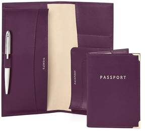 Aspinal of London Lindberg Travel Wallet With Passport Cover In Smooth Grape