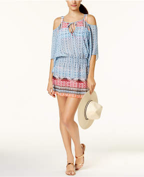 Becca Ikat-Print Cold-Shoulder Tunic Cover-Up Women's Swimsuit