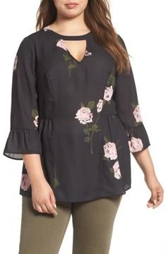 Daniel Rainn Plus Size Women's Bell Sleeve Floral Blouse