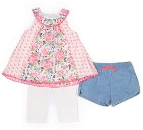 Little Lass Toddler Girl Chiffon Sleeveless Top, Capri Leggings & Chambray Shorts, 3Pc Outfit Set