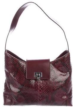 Lambertson Truex Snakeskin Leather-Trimmed Shoulder Bag