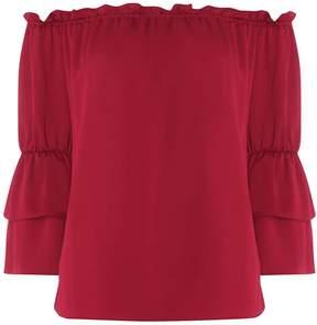 Dorothy Perkins Wine Ruffle Sleeve Frill Bardot Top