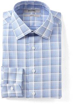 Murano Slim-Fit Spread Collar Checked Ombre Dress Shirt
