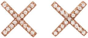 Eva Fehren Rose Gold and Diamond X Studs