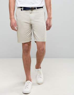 Pull&Bear Smart Chino Shorts With Belt In Stone