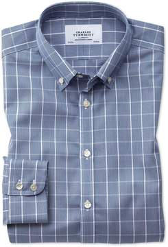 Charles Tyrwhitt Classic Fit Button-Down Non-Iron Prince Of Wales Navy Blue and White Cotton Dress Shirt Single Cuff Size 15.5/33