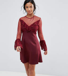 Elise Ryan Petite A Line Mini Dress With Lace Frill & Fluted Long Sleeve