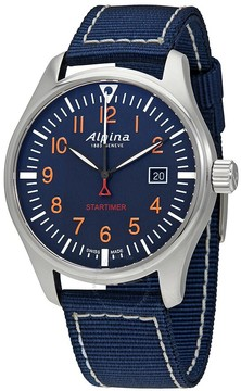 Alpina Startimer Pilot Navy Blue Dial Blue Nylon Men's Watch