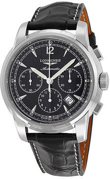 Longines Saint Imier Chronograph Black Dial Black Leather Men's Watch L27844523