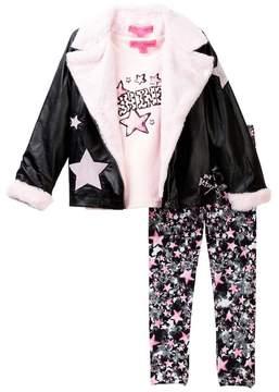 Betsey Johnson Star Tee, Faux Fur Trimmed Moto Jacket & Star Print Legging Set (Little Girls)