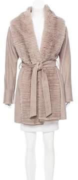 Cinzia Rocca Mink Fur-Trimmed Wool Coat