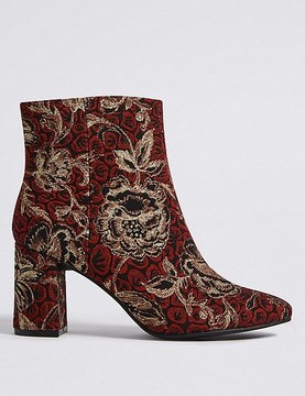 Marks and Spencer Block Heel Brocade Ankle Boots