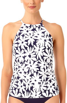 Anne Cole Navy & White Floral High-Neck Halter Tankini Top