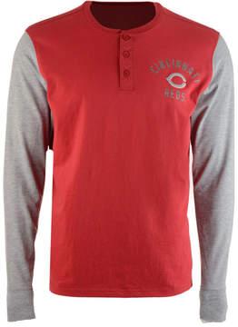 '47 Men's Cincinnati Reds Downfield Henley Long-Sleeve T-Shirt