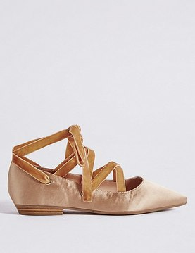 Marks and Spencer Lace-up Pointed Satin Pump Shoes