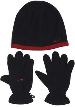 Nike Boys Swoosh Logo 2-Piece Black/Varsity Red Beanie Hat & Gloves Set Sz: 8/20