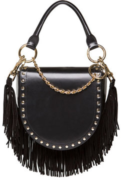 Sacai Leather Coin Bag w/Fringe Chain Strap, Black