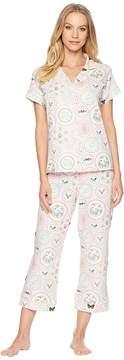 BedHead Pink Plates Short Sleeve Cropped Pajamas Women's Pajama Sets