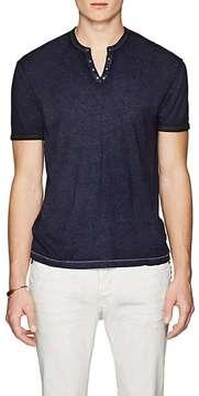 John Varvatos Men's Grommet-Detail V-Neck Shirt