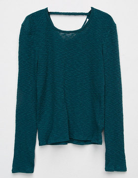 Full Tilt X Back Slub Rib Girls Sweater
