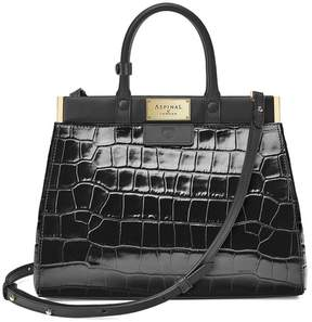 Aspinal of London Small Florence Snap Bag In Deep Shine Black Croc Smooth Black