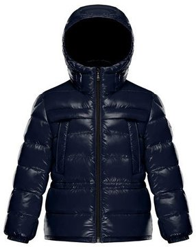 Moncler Gibran 2 Hooded Quilted Coat, Navy, Size 4-6