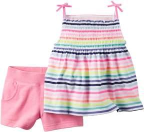 Carter's Baby Girls Rainbow Stripe Shorts Set