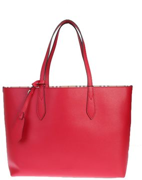 Burberry Reversible Leather And Canvas Medium Tote Bag - RED - STYLE