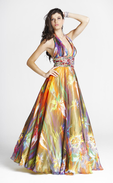 Blush Lingerie 5034 Plunging Halter Print Gown