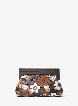 Michael Kors Stanwyck Floral Intarsia Leather Clutch - BROWN - STYLE