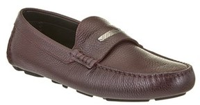 Burberry Grainy Leather Loafers With Engraved Check Detail.