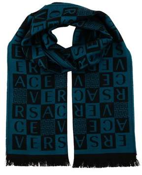 Versace It00629 Petrolio Teal 100% Wool Mens Scarf.