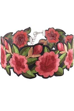 Cotton Candy Embroidered Floral Choker