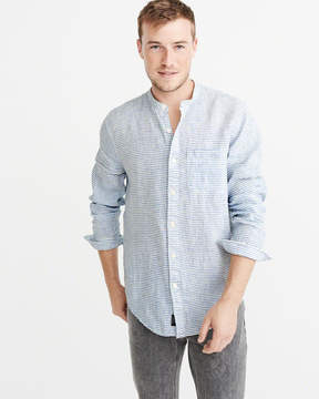 Abercrombie & Fitch Banded Collar Linen Shirt